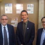 Wohngesundheit am Pavatex Messestand (von links: Herr ?, Peter Bachmann und Herr Tobler)