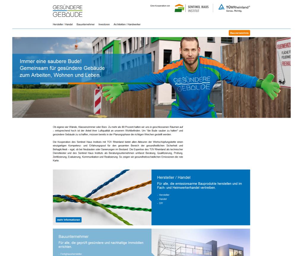 """Die neue Dachmarke """"Gesündere Gebäude"""" verfügt selbstverständlich auch über eine eigene Website. Grafik: SHI / TÜV Rheinland"""